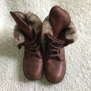 Shoes - Fur lined vegan leather combat boot